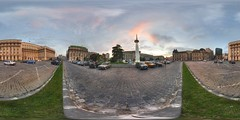 Revolution square in Bucharest (zdeto) Tags: sunset panorama monument canon 350d 360 panoramic romania handheld bucharest roumanie ptgui revolutionsquare piatarevolutiei
