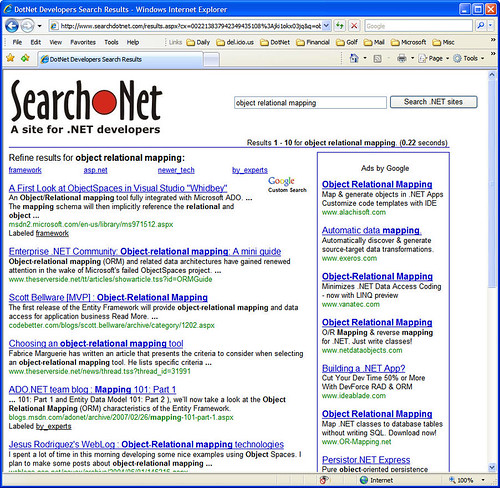 Search for 'Object Relational Mapping' in SearchDotNet