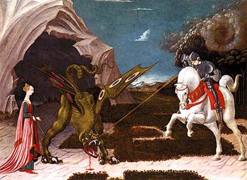 San Jorge de Capadocia, liberando a la doncella del dragón.