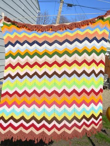 vintage stripey afghan