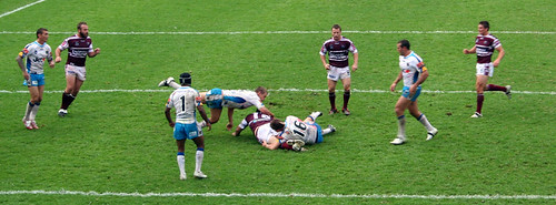 A flying tackle