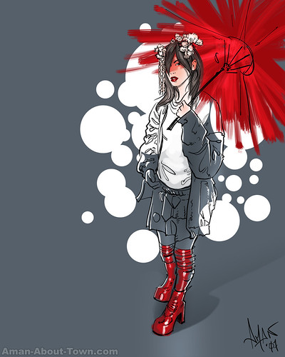 Red Boots ane Parasol