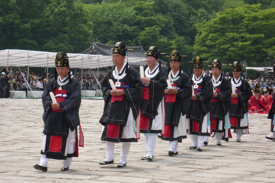 Officals taking part in the Ancestral rite at Jongmyo shrine