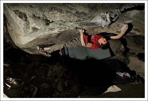 "Franz Widmer doing the First Ascent of ""From shallow waters to riverbed"" Riverbed SDS 8B+"