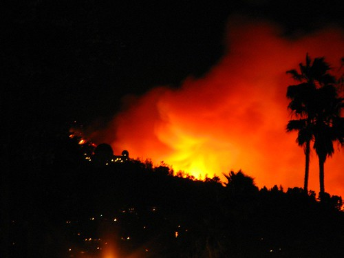 Griffith Park Observatory In Flames