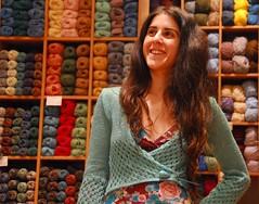 Irini's linen bolero (sifis) Tags: summer colour shop nikon knitting linen lace athens yarn greece jacket d200 cardigan shrug bolero handknitting yarnshop sakalak