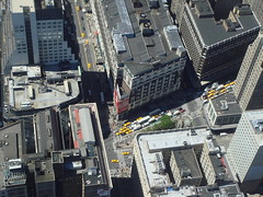 Zebra crossing at Macy's on 34th St. and Harold Square seen from the Empire State Building in Manhattan
