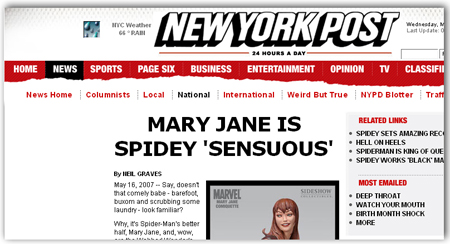 Mary Jane statue article - New York Post 051607