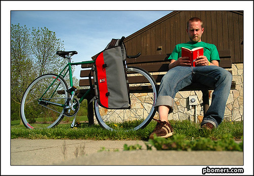 reading at the park with my bike