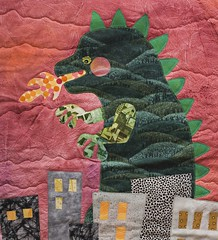 Godzilla Quilt (relentlesstoil) Tags: city paint acrylic quilt embroidery godzilla cotton quilting applique coloredpencil woolfelt burninating freemotionquilting fusiblewebbing