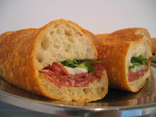 prosciutto di parma, buffalo mozzarella & wild arugula sandwich