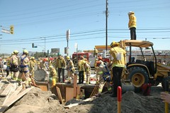 LAFD crews rescue trapped worker. © Photo by Mike Meadows