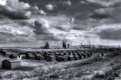 6223 - Fisherman's Huts, South Gare (M R Fletcher) Tags: bw industry monochrome clouds blackwhite fisherman gare steel south huts teesside jesters redcar markfletcher corus warrenby