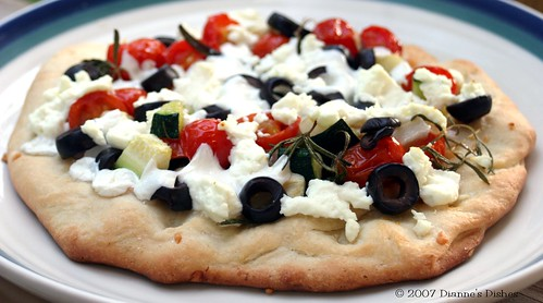 Goat Cheese Pizza with Zucchini and Cherry Tomatoes