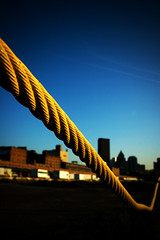 Pittsburgh Tug o' War (Matt Niemi) Tags: sky yellow pittsburgh stripdistrict