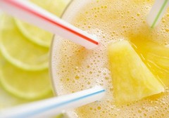 Tropical Lime Smoothie (1/2) (Thorsten (TK)) Tags: blue red summer food macro green yellow closeup fruit catchycolors healthy dof drink bokeh beverage sunny bubbles fresh pineapple tropical lime fitness smoothie refreshing beverages fruity foodphotography drinkingstraw foodstyling realfoodgallery thebestyellow thorstenkraska tropicallimesmoothie