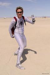 White Spiderman (naturalturn) Tags: usa man costume nevada spiderman playa burningman blackrockcity superhero 2008 spandex lycra zentai burningman2008 image:rating=5 image:id=062919