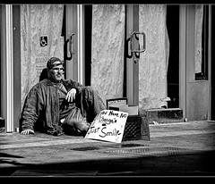 Street (Dennis Perry) Tags: bw smile boston downtown homeless sparechange