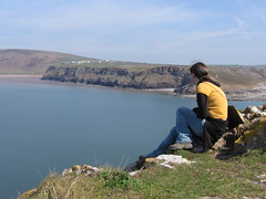 Me looking over to the cliffs at Rhosilli, from Worm's Head
