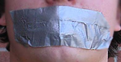 Duct-taped mouth