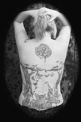 Tattoos in Black & White (Kerrie Lynn Photography (Sugaree_GD)) Tags: trees mushroom back butterflies tattoos views fairies 5000 kerrie backpiece amybrown staceysharp sugareegd keirwells coolestphotographers