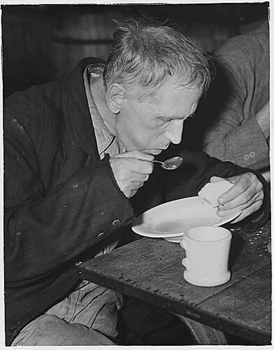 Public Domain: WPA: Unemployed Man in Soup Kitchen, 1936 by Unknown (NARA)