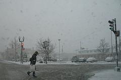 April Snow (.michael.newman.) Tags: street winter snow cars weather wisconsin oakland crossing pedestrian april greenlight redlight signal shorewood shoppingbag