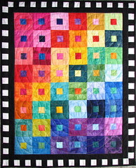 Batik Rainbow (Lisa-S) Tags: blackandwhite bw colour art canon rainbow quilt squares circles lisas explore fabric quilting quilted concentric allrightsreserved batik interestingness303 i500 s3is canons3is artasquilt copyrightlisastokes