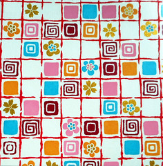 Yuzen washi 191 (tengds) Tags: handmadepaper japanesepaper yuzenwashi washi chiyogami boxes checks flowers swirls white ochre pink blue tan tengds
