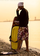 just before surfing (Abdullah AL-Naser) Tags: sea summer black guy beach sports water fashion canon warm surfing swimmer kuwait kuwaiti 30d abdullah abraj abraaj