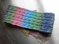 Aurora scarf detail (post blocking)
