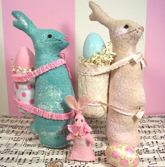 "100% handstitched/painted ""paper mache rabbits"" and a ""patchling"" (holiday_jenny) Tags: pink rabbit bunny bunnies vintage paper easter spring folkart handmade antique turquoise painted cream eggs stitched mache sewn prim crepepaper"