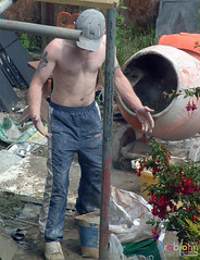 My Builders 1275 - rough little builder gets his shirt off (marmaset) Tags: man male men home tattoo work real back masculine bare chest cement plaster pale council worker rough build trade builder trackie workies baseballcap workie