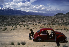 Kevin and the Red Bug (Bodie Bailey) Tags: california red volkswagen landscape roadtrip kodachrome owensvalley 395 highway395 alabamahills canonftb kevinbailey