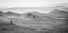 Alone (Davescunningplan) Tags: figure lone alone snow mountains tromso cable car blackandwhite