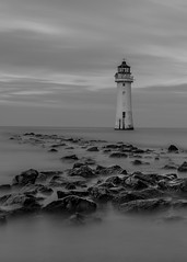 New Brighton Lighthouse. (dave.mcculley) Tags: newbrightonlighthouse liverpool merseyside wirral water longexposure black white