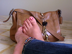 Day 66 (lrayholly) Tags: portrait feet me leather key kodak purse tired daffyduck favoritethings day66 anklet breaktime longday coachpurse 365days takealoadoff not daffyduckkeyring futab feetuptakeabreak lrayholly