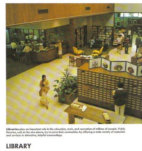 Library interior, circa 1978; World Book Encyclopedia