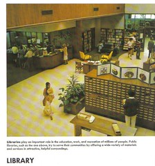 Library interior, circa 1978; World Book Encyclopedia (Johnjron1) Tags: history library libraries 70s catalog 1978 1970s lis cardcatalog publiclibrary patrons libraryinteriors liblibs libraryhistory