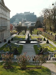 Mirabell Gardens looking towards the Fortress