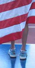 Roadrunner (SOULCITY) Tags: usa shoes legs flag champion americanflag sneakers podium winner athlete redwhiteandblue racer iloveny olympian runningtrack deenakastor eliterunner