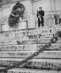 Guard (balintmolnar1) Tags: rome beautiful streetphotograhpy lumixgh4 gh4 canon colosseum pinokio fountain river fruits guard sunset stairs bnwphotography motor vespa reflection