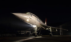 All lit up (Treflyn) Tags: concorde gbbdg brooklands museum timeline events night shoot