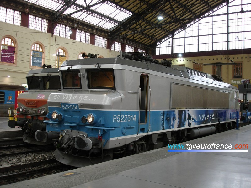 A French electric SNCF locomotive (the BB 22314 recently modified for push-pull services) in the Marseille Saint-Charles station