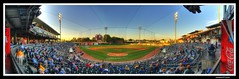 Behind the Biscuit Net (sunsurfr) Tags: blue sky people panorama building green net grass architecture clouds buildings lights nikon colorful downtown baseball stadium pano alabama coke structure explore biscuits montgomery cocacola fans d200 players hdr stands homeplate nikonstunninggallery diamondclassphotographer sunsurfr