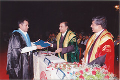 Receiving the diploma from IIM-B chairman Mukesh Ambani as chief guest Nandan Nilekani looks on