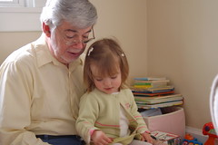 Lauren reading with Pap.