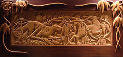 Puma and Antelope Woodcarving (Craftsman1) Tags: wood art artist craft carving relief ornament fantasy jungle antelope puma nouveau craftsman sculptor woodcarving wallhanging woodcarver superbmasterpiece