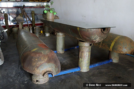 Phonsavan, Laos - Locals use unexploded bombs for furniture. Local people have found found creative, alternative uses for these instruments of war. Unexploded ordinance, dropped largely by American B-