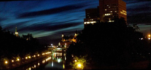 The twilight's last gleaming over Ottawa's Rideau Canal.